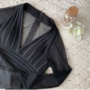 JS Collections Black Sheer Bodice Blouse